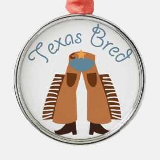 Texas Bred Round Metal Christmas Ornament