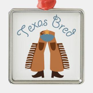 Texas Bred Square Metal Christmas Ornament