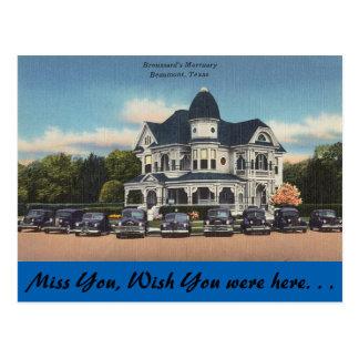 Texas, Broussard's Mortuary, Beaumont Postcard