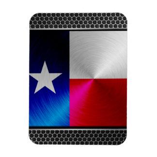 Texas brushed metal flag magnet
