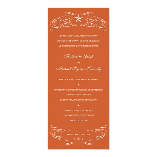 Texas Burnt Orange Lone Star Wedding Invitations Zazzle Com