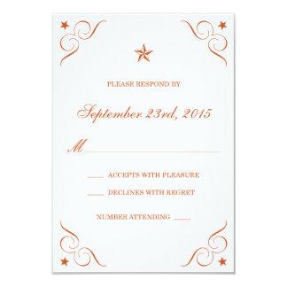 Texas Burnt Orange Lone Star Wedding RSVP cards Custom Invitations