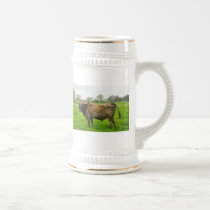 Texas Burnt Orange Longhorn Steer Beer Stein