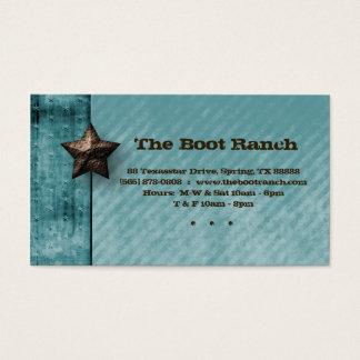 Texas Business Card Denim Jean Star Turquoise Blue