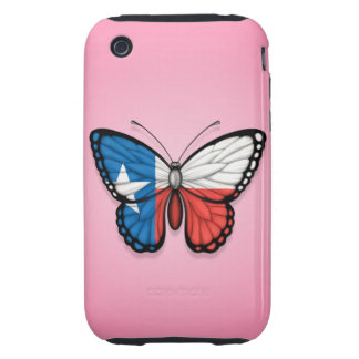 Texas Butterfly Flag on Pink Tough iPhone 3 Covers