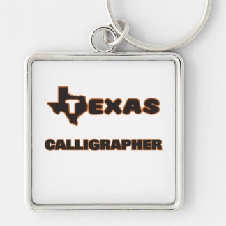 Texas Calligrapher Silver-Colored Square Keychain