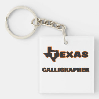 Texas Calligrapher Single-Sided Square Acrylic Keychain