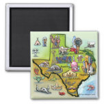 Texas Cartoon Map 2 Inch Square Magnet