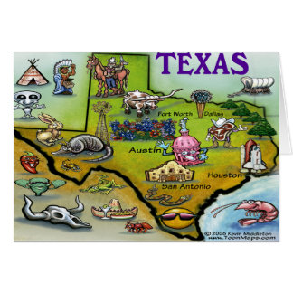 TEXAS Cartoon Map Card