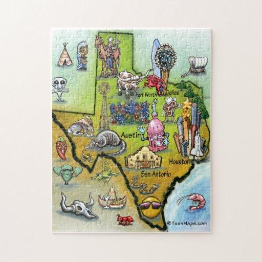 Texas Cartoon Map Jigsaw Puzzle