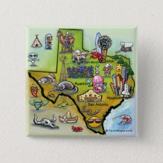 Texas Cartoon Map Pinback Button