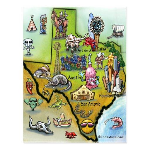 Texas Cartoon Map Postcards