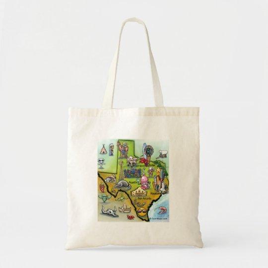 Texas Cartoon Map Tote Bag