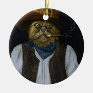 Texas Cat with an Attitude Ceramic Ornament
