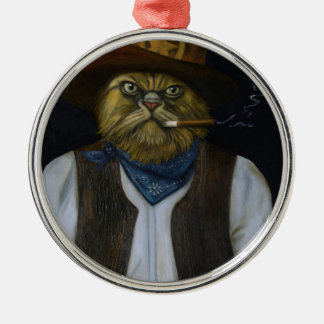 Texas Cat with an Attitude Metal Ornament