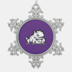Texas Christian University Frog Snowflake Pewter Christmas Ornament at Zazzle