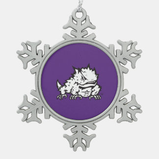 Texas Christian University Frog Snowflake Pewter Christmas Ornament