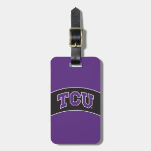 Leatherette Luggage Tag-Brown Texas State University
