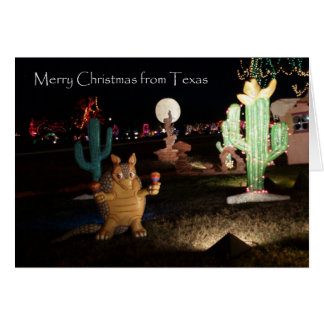 Texas Christmas Card -- Armadillo and Cactus
