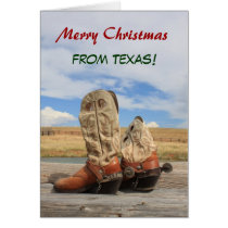 Texas Christmas Cowboy Boot Card