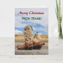 Texas Christmas Cowboy Boot Holiday Card