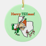 Texas Christmas Double-Sided Ceramic Round Christmas Ornament