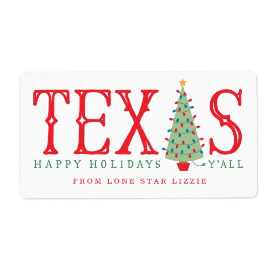 Texas Christmas Tree Happy Holidays Gift Labels | Zazzle.com