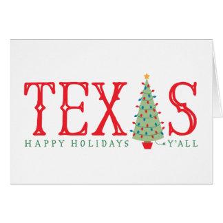 Texas Christmas Tree Happy Holidays Greeting Card