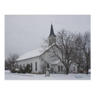 Texas church snow postcard