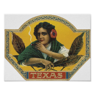 Texas Cigar Label Poster