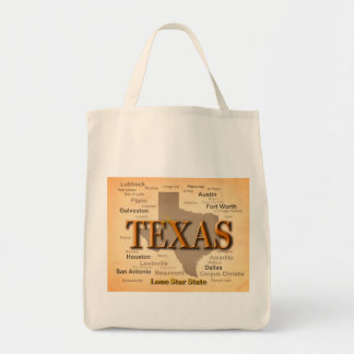 Texas Cities and Towns State Pride Map Tote Bag