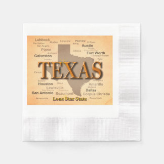 Texas Cities and Towns State Pride Map Disposable Napkin