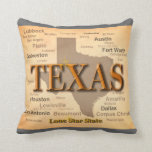 Texas Cities and Towns State Pride Map Throw Pillows