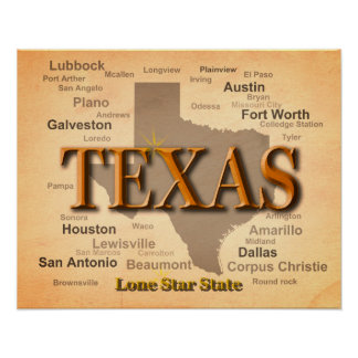 Texas Cities and Towns State Pride Map Poster
