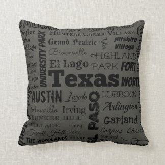 Texas cities pillow in grey/black