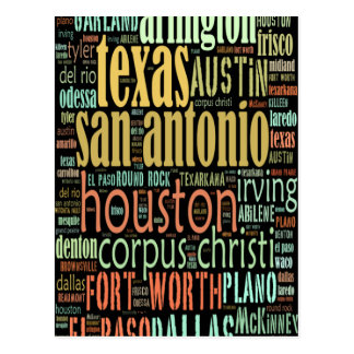 Texas Cities Text Collage Postcard