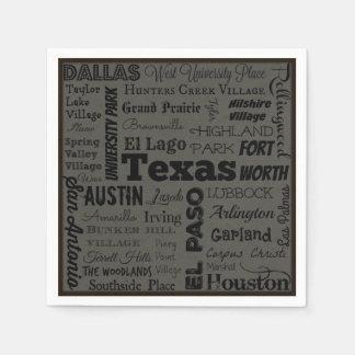 Texas cities typography napkins