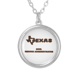 Texas Civil Service Administrator Round Pendant Necklace