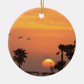 Texas Coastal Sunset :: Pelicans and Palm Trees Ceramic Ornament