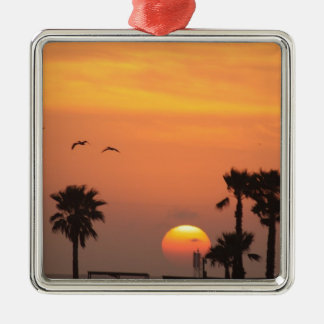 Texas Coastal Sunset :: Pelicans and Palm Trees Metal Ornament