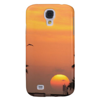 Texas Coastal Sunset :: Pelicans and Palm Trees Samsung Galaxy S4 Case