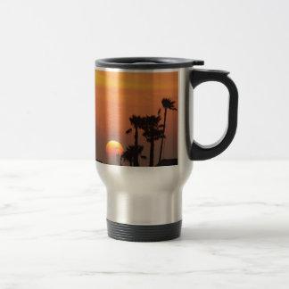 Texas Coastal Sunset :: Pelicans and Palm Trees Travel Mug