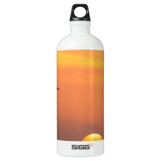 Texas Coastal Sunset :: Pelicans and Palm Trees Water Bottle