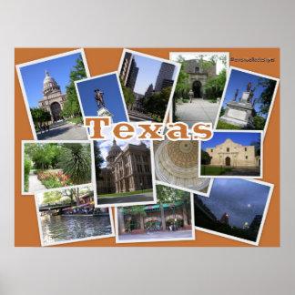 Texas-Collage of San Antonio+Austin TX Poster