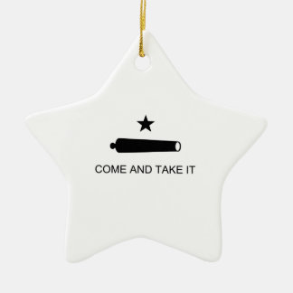 Texas, Come and Take It Double-Sided Star Ceramic Christmas Ornament