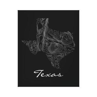 Texas Contour Silhouette Canvas Print
