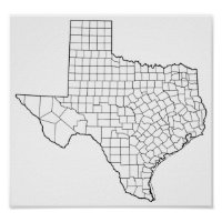 Texas Counties Blank Outline Map Poster
