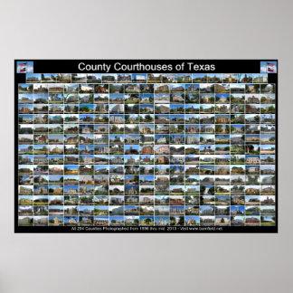 Texas County Courthouses Poster (black horizontal)