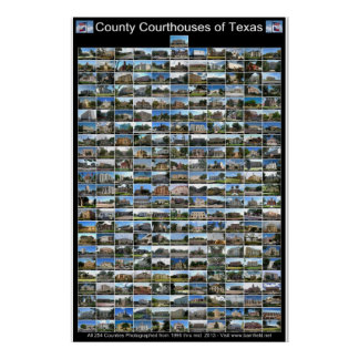 Texas County Courthouses Poster (black vertical)