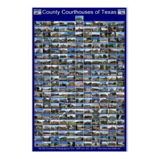 Texas County Courthouses Poster (Blue vertical)